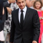 French President, Nicolas Sarkozy arriving for the wedding of Prince Albert II of Monaco and Charlene Wittstock at the Place du Palais.