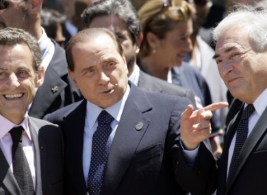 Three's a crowd: No strangers to sex controversies, French President Nicolas Sarkozy, Italian PM Silvio Berlusconi and former IMF MD Dominique Strauss-Kahn share a giggle in 2009.