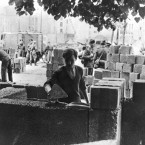 This photo shows some of the first work carried out on the Berlin Wall in August 1961.   It is thought that up to 200 people could have died whilst trying to cross the border into West Berlin.   Günter Litwin was the first victim of the 'Death Strip'. He was shot down by East German border guard in Berlin on August 24, 1961.