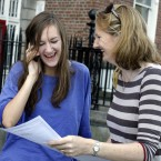 At Loreto College on St Stephen's Green, Jenny Lardner from Ballsbridge relays her score of 580 over the phone as mum Sarah looks on (Mark Stedman/Photocall Ireland)