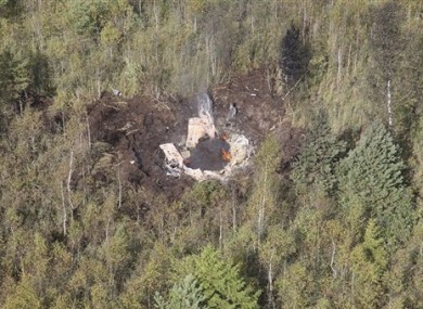 The wreckage of the L-39 jet in northern Lithuania today.