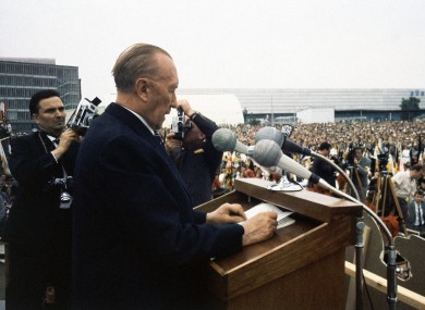 West German chancellor Konrad Adenauer was willing to swap West Berlin for land inside the East German border.