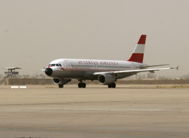 File photo of an Austrian Airlines jet. A man was arrested this morning after an AA flight was forced to divert to Shannon.
