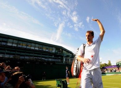 Niland acknowledges his support following the defeat against Mannarino in Wimbledon in June.