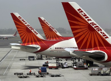 Planes at the airport in New Delhi, India
