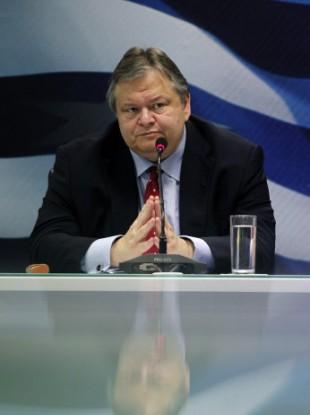 Greek Finance Minister Evangelos Venizelos speaking at a press conference last month.