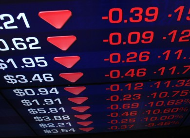 A screen at the Australian stock exchange today