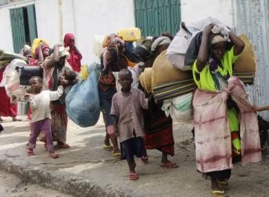 Somalis arriving in Mogadishu today.