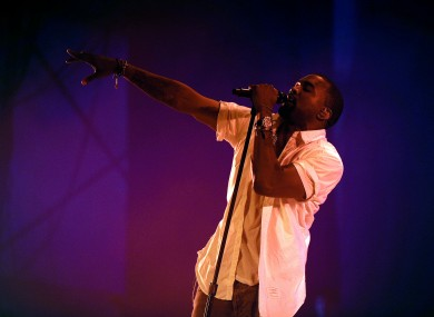 Kanye West performs at the Big Chill Festival 2011, at Eastnor Castle in Herefordshire.