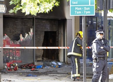Shops and premises were damaged in Brixton, South London, last night.