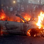 A car on fire in Hackney, east London, last night. (Lewis Whyld/PA Wire)