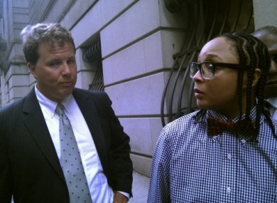 Felicia 'Snoop' Pearson outside court yesterday with her lawyer.