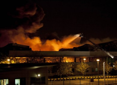 The Sony warehouse on fire in the early hours of Tuesday morning.