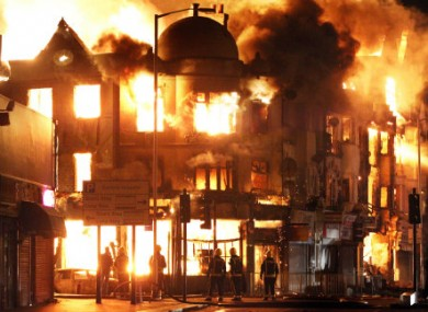 The Reeves furniture store on fire in Croydon, London, during the riots on 9 August.