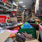 An internal view of damage to shop on London Road in Croydon, Surrey, today. (Gareth Fuller/PA Wire)