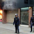 A Miss Selfridge shop on fire in Market Street in Manchester city centre.