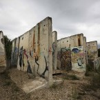 Remaining pieces of the original Berlin Wall in a yard in the German capital (Photo/Markus Schreiber)