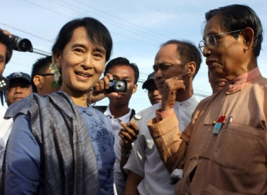 Aung San Suu Kyi meeting with supporters earlier this month in Bago.