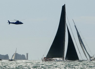 The Rambler 100, pictured at the start of the Fastnet Race yesterday. The vessel overturned off the coast of Cork this evening.