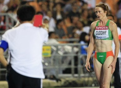 Joanne Cuddihy reacts following her disqualification in the 400m semi-finals.