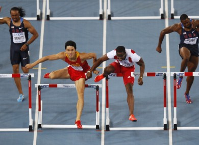 The moment when Dayron Robles (third from left) and Liu Xiang clashed. Robles went on to win the race, but was later disqualified.