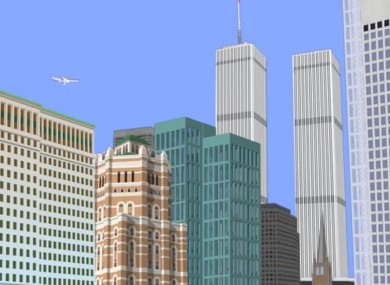 A cartoon version of the attacks on the Twin Towers in New York.
