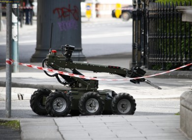 A Defence Forces' explosives disposal robot in action at a previous security alert near Connolly Station