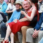 An audience member is drawn into participation at a production of Carmen as part of the annual Opera in the Open series in Dublin. (Leon Farrell/Photocall Ireland)