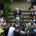 Senator David Norris faces the media outside his home in Dublin as he announces he is withdrawing his bid to be nominated in the Presidential race. (Julien Behal/Photocall Ireland)
