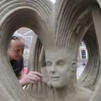 A sculpture at the annual sand sculpture exhibition at Dublin Castle. (Sasko Lazarov/Photocall Ireland)