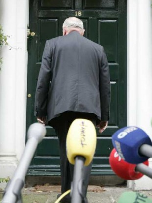 David Norris outside his home in Dublin yesterday.