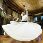 Whirling dervishes perform at the Galata Whirling Dervish Hall, founded in 1491 by Ottomans, in Istanbul, Turkey (AP Photo)