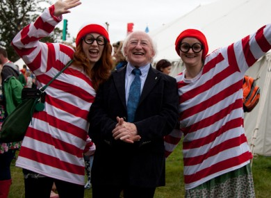 Michael D Higgins with a pair of Wallys at Electric Picnic yesterday