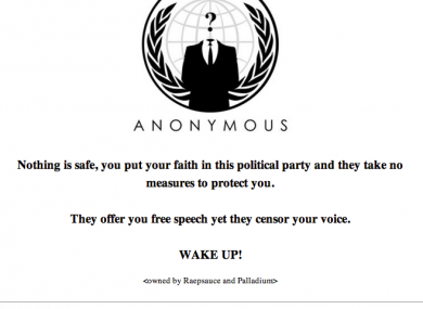 Message posted on the Fine Gael election site after it was hacked.