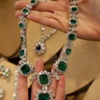 Taylor's emerald and diamond necklace and pendant, part of a suite by BVLGARI, a gift of Richard Burton. (AP Photo/Richard Drew)