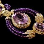 """Part of a Suite of Kunzite, amethyst and diamond """"Triphanes"""" jewellery by Van Cleef & Arpels. (AP Photo/Richard Drew)"""