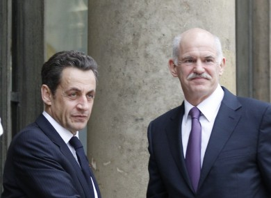 Nicolas Sarkozy and George Papandreou at a meeting in March. The pair will meet again today to discuss the continuing Greek debt crisis.
