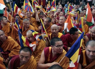 Exiled Tibetan Buddhist monks protesting Chinese rule of Tibet at a rally in India in April 2011.