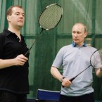 Medvedev and Putin prepare to play badminton in June 2011. (Dmitry Astakhov/AP/Press Association Images)