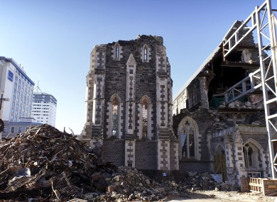 The cathedral in Christchurch destroyed by the earthquake