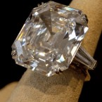 A 33.19 carat diamond ring, given to Taylor by Richard Burton, valued at $2,500,000 - $3,000,000. (AP Photo/Richard Drew)