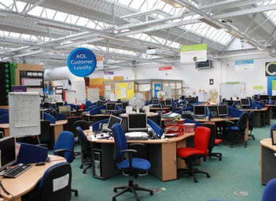 Empty desks at Waterford's Talk Talk call centre after yesterday's announcement.