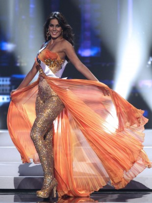 Catalina Robayo performs during the Miss Universe preliminary competition event in Sao Paulo. Wearing pants this time.