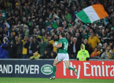 Tommy Bowe races towards the Australian line in the game's dying moments.