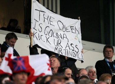 A banner directed at Tindall during the England v Georgia game at the weekend.