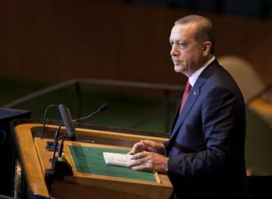 Turkish Prime Minister Recep Tayyip Erdogan speaks at the UN General Assembly last week.