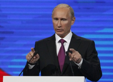 Putin looking fresh at the United Russia party congress in Moscow on Saturday.