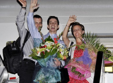 From left: Shane Bauer, Josh Fattal and Sarah Shourd leaving Oman yesterday.