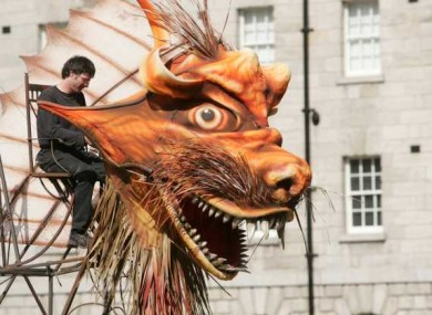 A Macnas member works on a 20-foot High Dragon in preparation for tonight's launch event, which has been cancelled due to health and safety concerns.