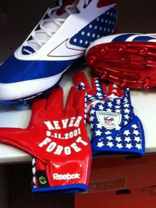 The commemorative gloves and boots which will be worn by Jamaal Charles and others tomorrow.